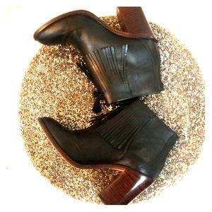 Madewell Adi Leather Fringe Booties Boots Sz 5